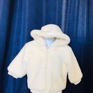 Cream Colored Faux Fur Hooded Coat